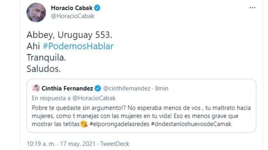 Cruce Horacio Cabak y Cinthia Fernandez