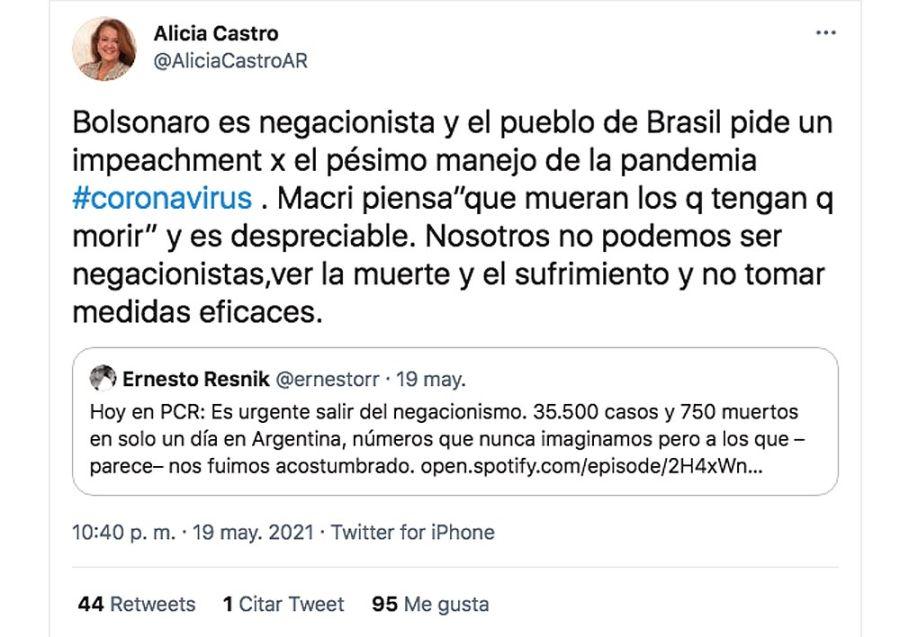 Twits Alicia Castro 20210520