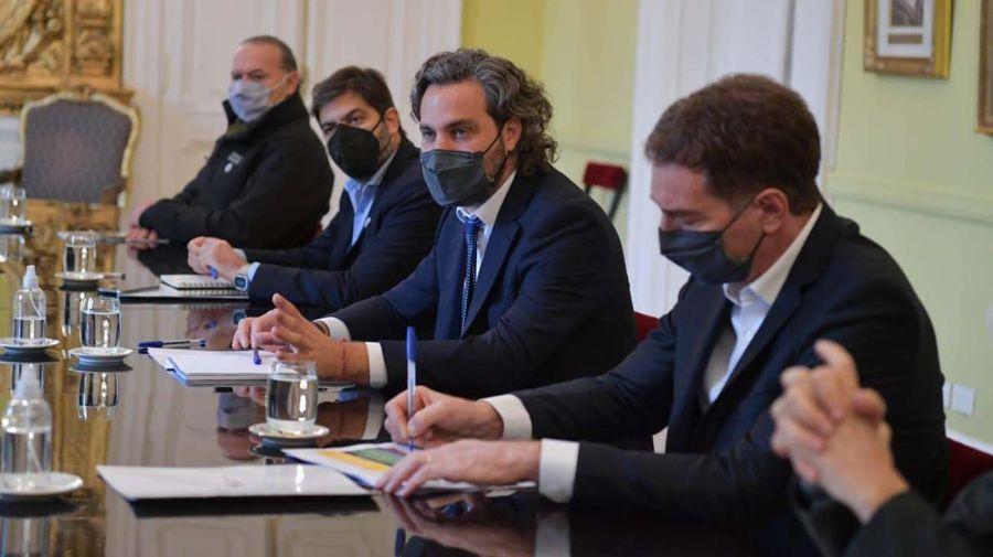 Tripartita. Ayer Cafiero reunió a Berni, Bianco, Santilli y Frederic.