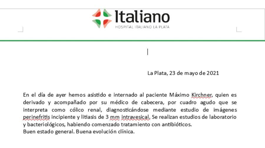 El parte del Hospital Italiano La Plata, dando cuenta del estado de Máximo Kirchner.