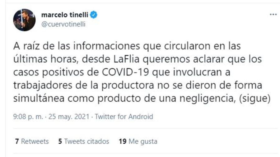 Comunicado Marcelo Tinelli Covid en Showmatch