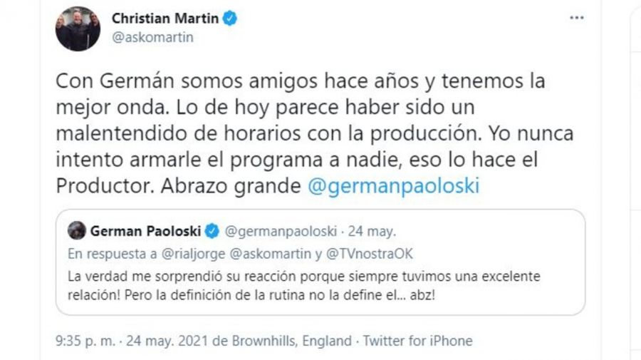 Respuesta Christian Martin a German Paoloski