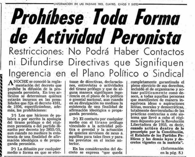Clarin, prohibición peronista