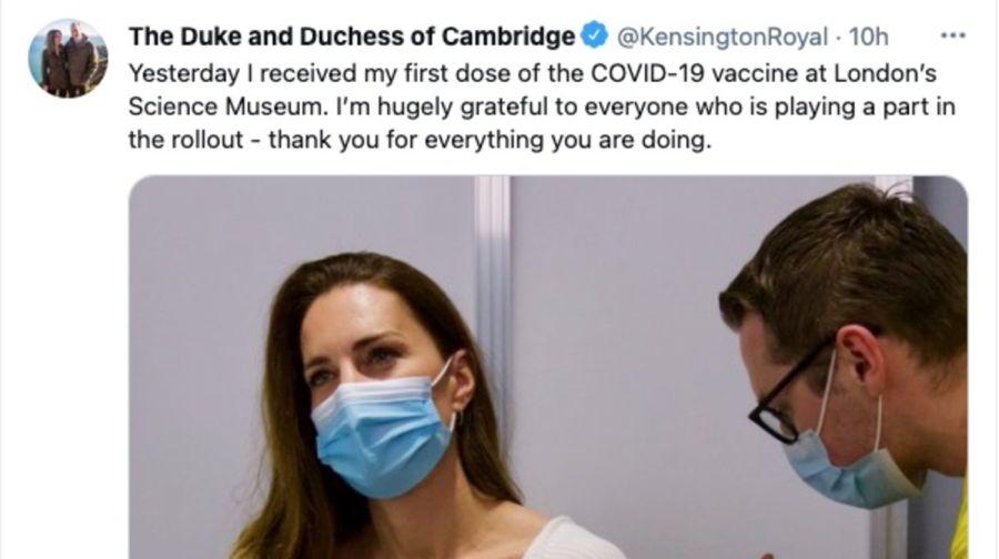 Kate Middleton recibe la primera dosis de la vacuna contra el coronavirus