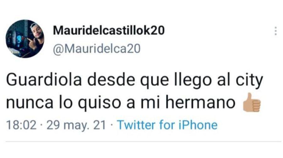 Tweet de Mauricio del Castillo