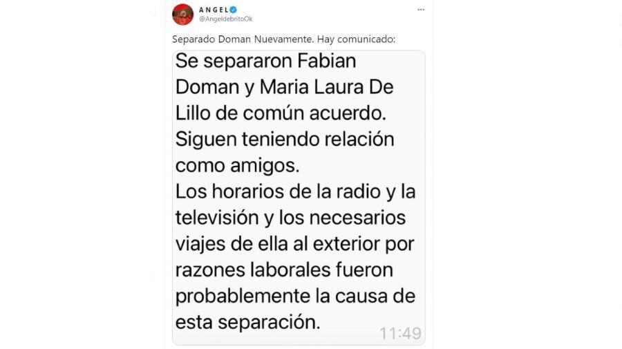 Comunicado separacion Fabian Doman y Maria de Lillo