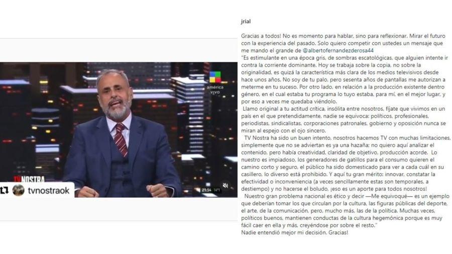 Jorge Rial descargo tras fnal TV Nostra