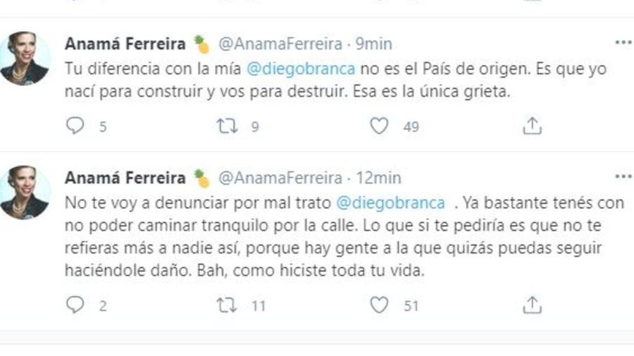 Anama Ferreira contra Diego Brancatelli