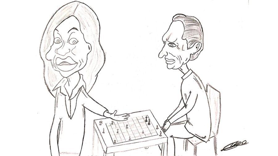 Caricatura: Cristina Fernández y Mauricio Macri.