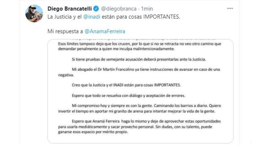 Diego Brancatelli respuesta a Anama Ferreria