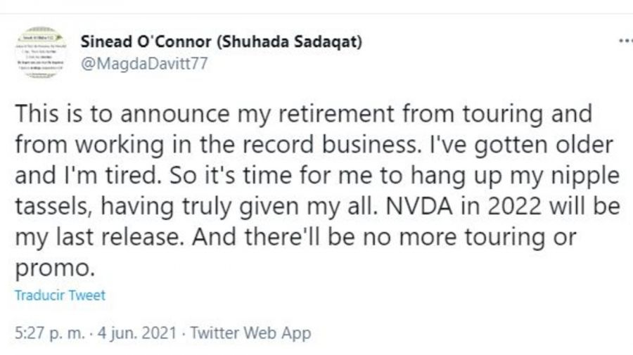 Sinéad O'Connor retiro de la musica
