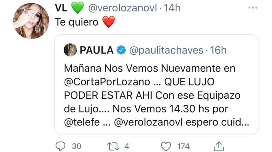 Tweet Paula Chaves y Verónica Lozano 0607