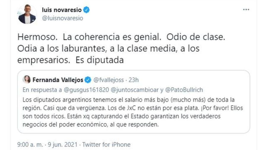 Luis Novaresio contra Fernanda Vallejos