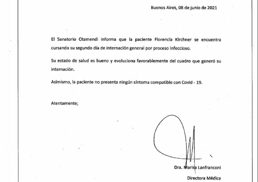 Parte médico Florencia Kirchner