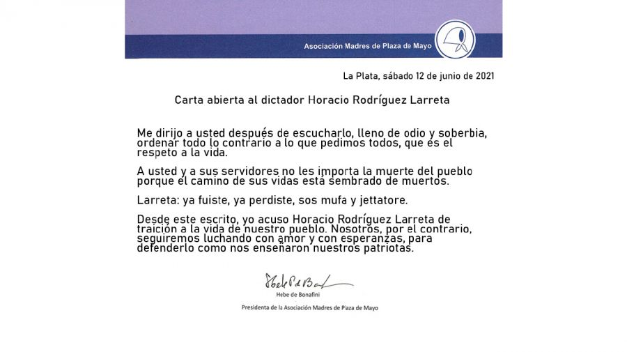 Carta Hebe de Bonafini Larreta