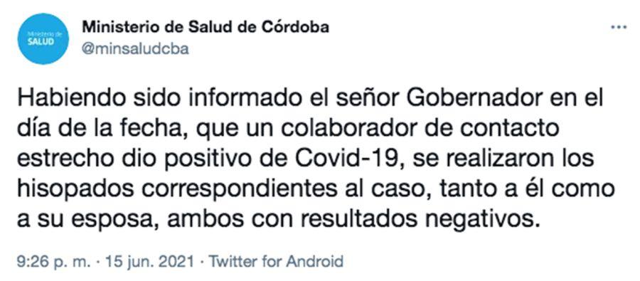 captura de este twit del Min de Salud de Córdoba sobre el gobernador