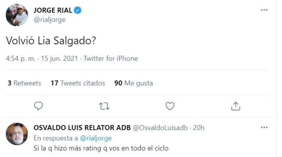 Jorge Rial hizo un filoso comentario en Twitter sobre el nuevo programa de Laurita Fernández y sus seguidores lo liquidaron