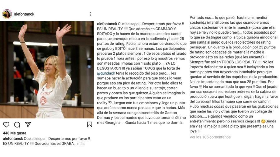 Alejandra Fontan furia Masterchef Celebrity