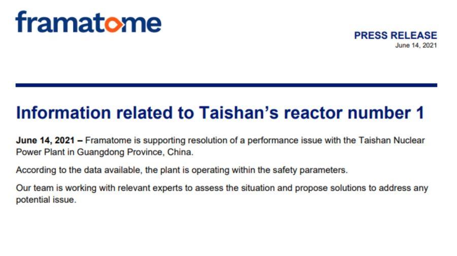 El breve comunicado de Framatone, el fabricante francés del reactor que opera en la planta nuclear china de Taishan.