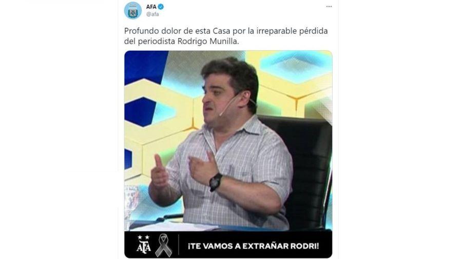 Mensaje AFA muerte Rodrigo Munilla