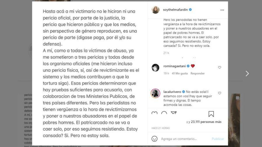 Thelma Fardin descargo pericia Juan Darthes