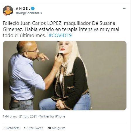 Falleció Juan Carlos López, maquillador de Susana Giménez