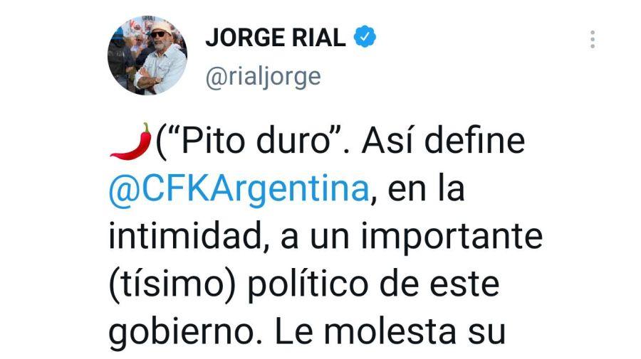 Tuit de Jorge Rial