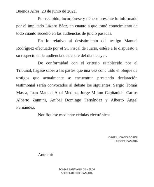 Citación a Alberto Fernández
