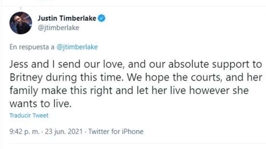 Mensaje Justin Timberlake para Birtney Spears