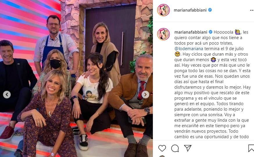 Levantan el programa de Mariana Fabbiani: así fue su despedida en redes