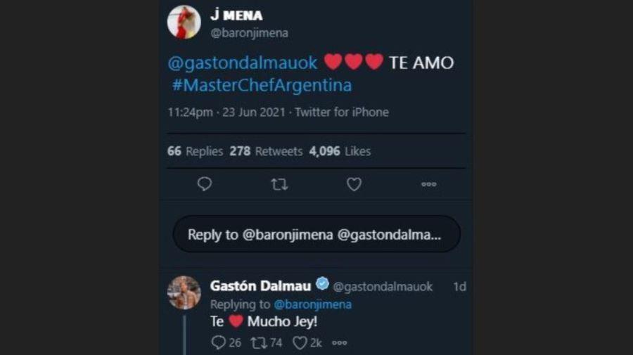 Mensaje Jimena Baron a Gaston Dalmau