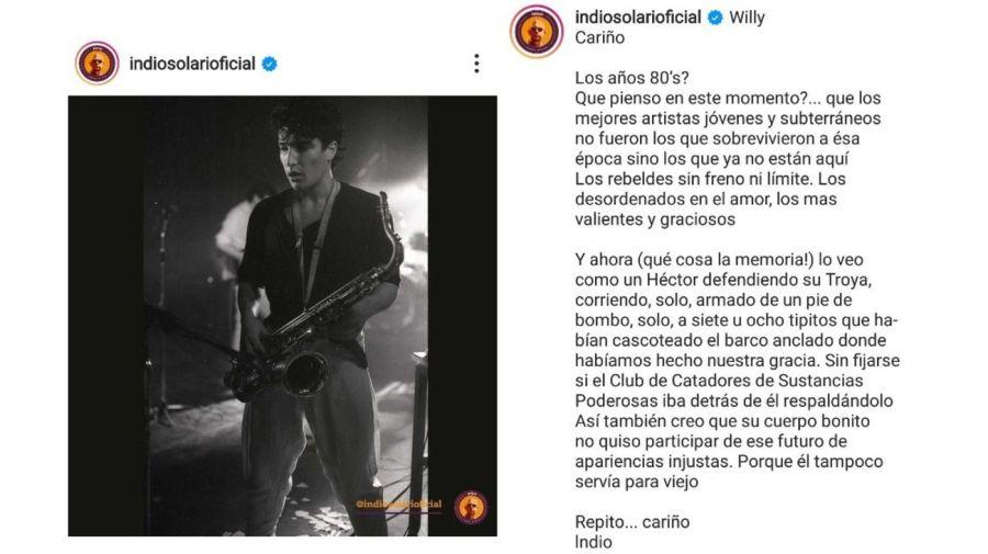 Mensaje Indio Solari por la muerte de Willy Crook
