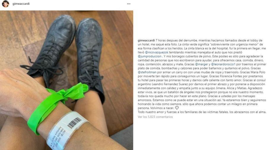 Mensaje y foto Gimena Accardi tras el derrumbe en Miami