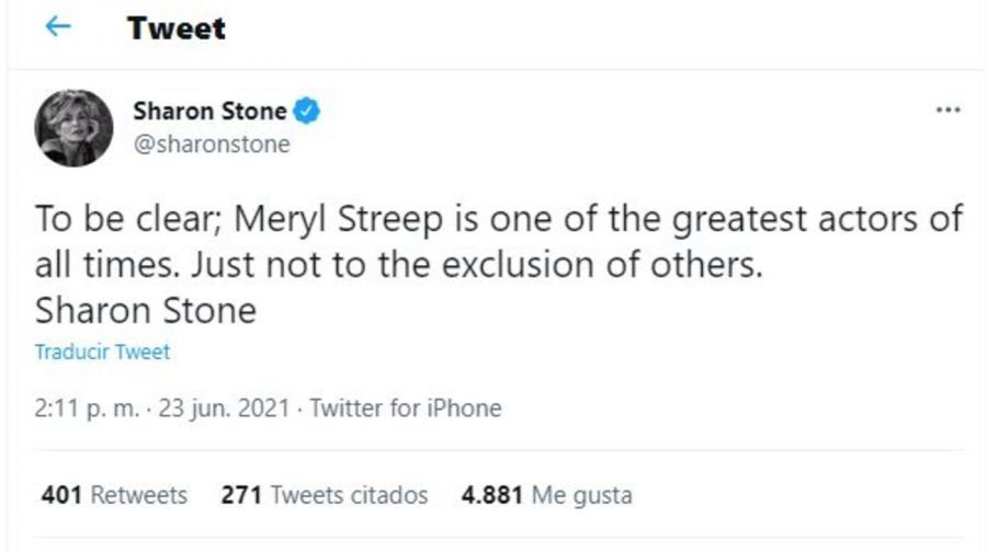 Tuit Sharon Stone sobre Meryl Streep