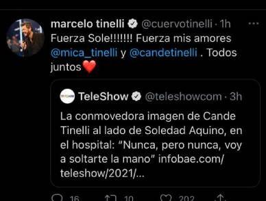 El mensaje de Marcelo Tinelli para Soledad Aquino: