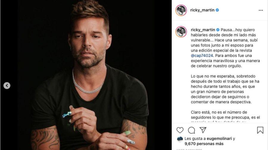 En el Día del Orgullo, Ricky Martín habló de sufrir discriminación al compartir imágenes con su esposo