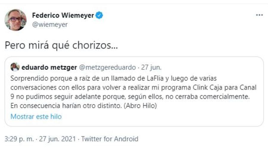 Mensaje Wiemeyer por el plagio a Eduardo Metzger