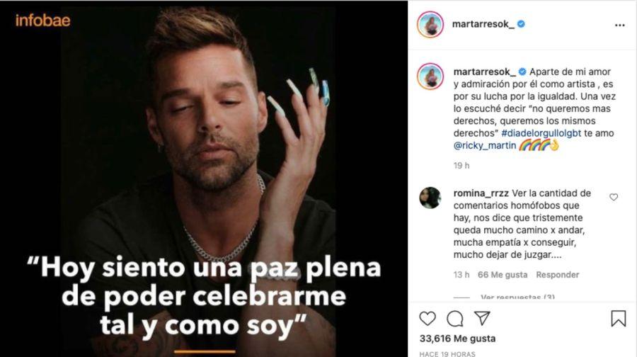 MarTarresapoyó a Ricky Martin en su denuncia por discriminación