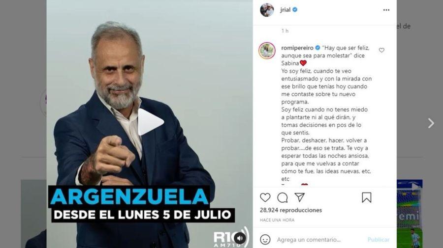 Mensaje Romina Pereiro a Jorge Rial por debut Radio 10