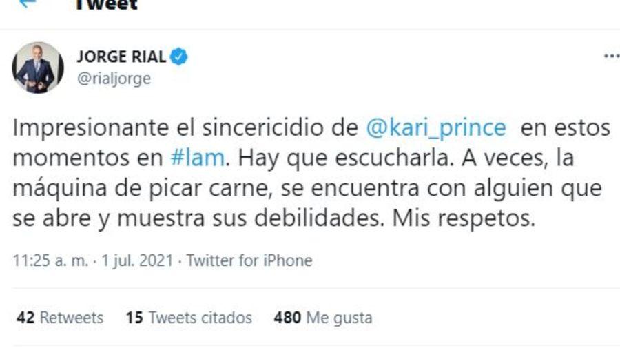 Tuit de Jorge Rial contra Angel de Brito