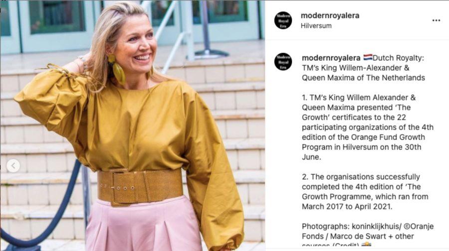 Máxima de Holanda sorprendió con un lookoversizey accesorios XL