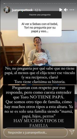 La aclaración de Juana Repetto cuando le consultaron si Toribio pregunta por su papá:
