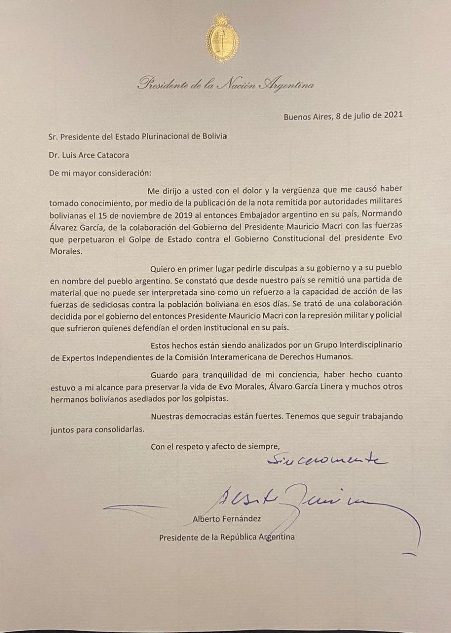 Carta Golpe de Estado Bolivia