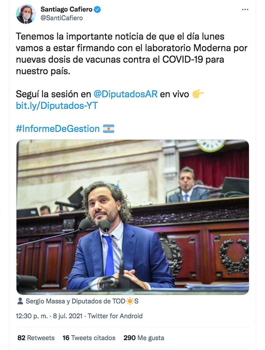 Twit Santiago Cafiero 20210708