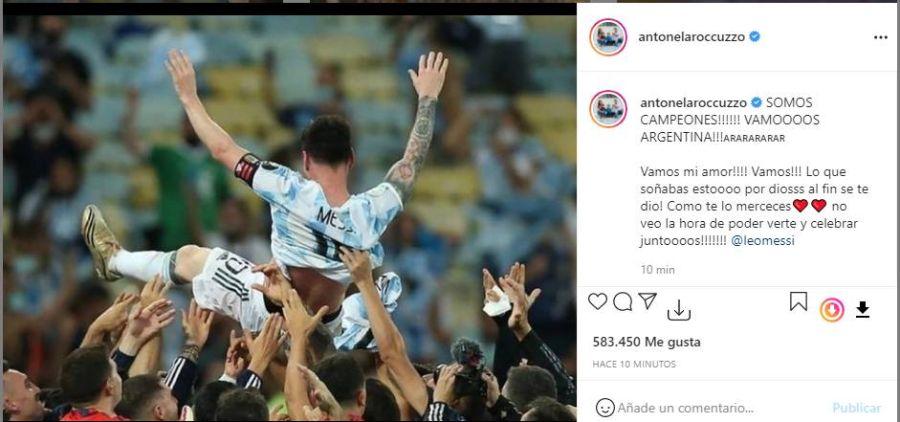 Con Messi como estrella: La publicación de Antonela Roccuzzo tras el triunfo de Argentina en la Copa América