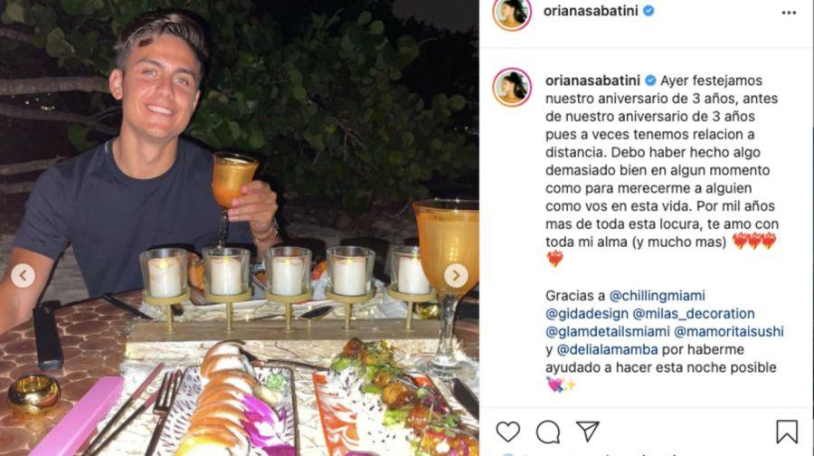 Oriana Sabatini y PauloDybalacelebraron su tercer aniversario en una romántica cena en Miami