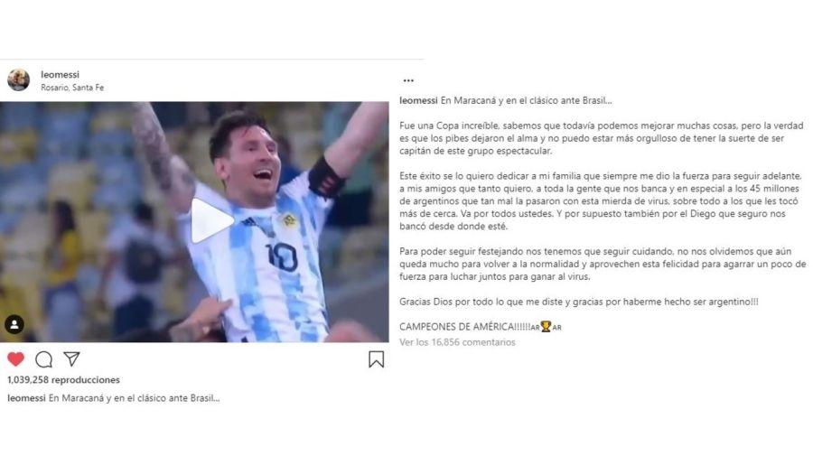 Lionel Messi mensaje