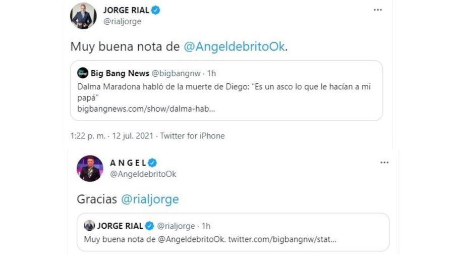 Cruce Jorge Rial y Angel de Brito