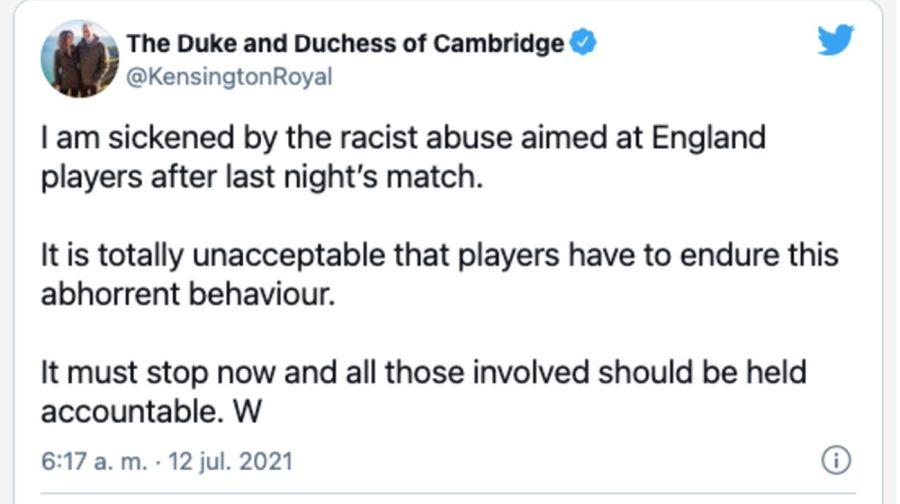 El príncipe Guillermo se enfrenta a los ataques racistas ocasionados durante la final de la Eurocopa