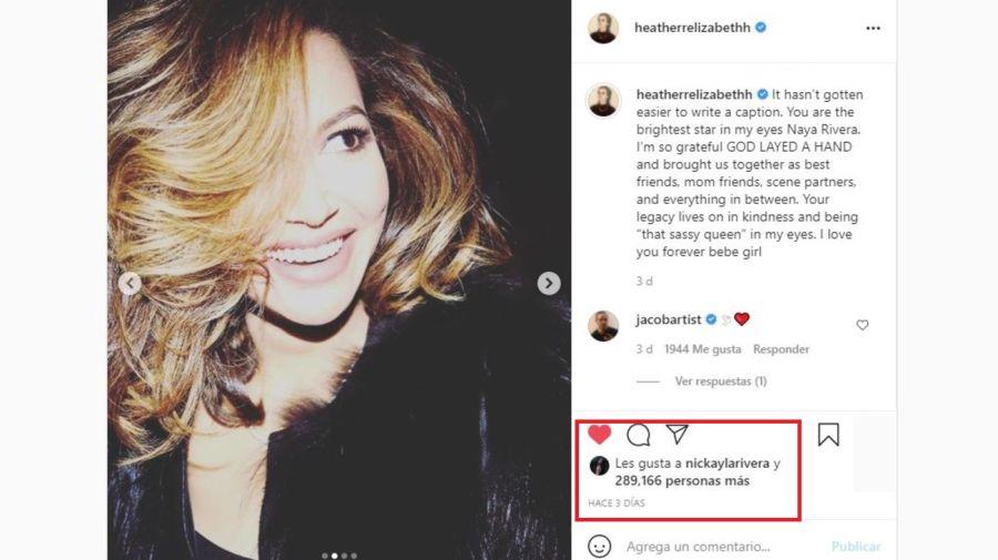 Mensaje Heather Morris por Naya Rivera